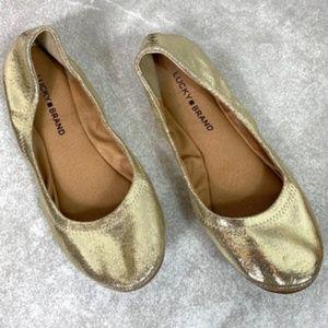 Lucky Brand Gold Metallic Emmie Ballet Flats